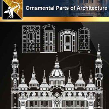 ★【Ornamental Parts of Architecture -Decoration Element CAD Blocks V.3】@Autocad Decoration Blocks,Drawings,CAD Details,Elevation